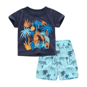 coconut tree cartoon prints Baby and Toddler T-Shirt and Mesh Shorts Set for baby boy wearing in summer day, include short sleeve T-shirt and shorts