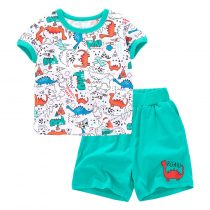 dinosaur world cartoon  prints Baby and Toddler T-Shirt  and Mesh Shorts Set for baby boy wearing in summer day, include short sleeve T-shirt and shorts in green color