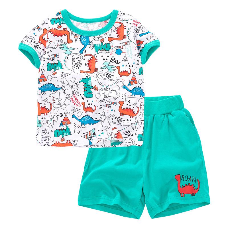 Green Dinosaur Cartoon Print Baby Boys T-shirt+ Shorts  Set