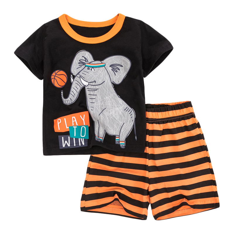 Baby Boys Shorts Sets with Elephant Cartoon Print