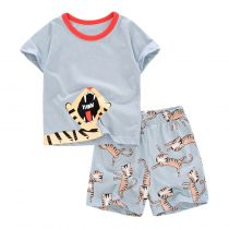 tiger prints Baby and Toddler T-Shirt and Mesh Shorts Set for baby boy wearing in summer day, include short sleeve T-shirt and shorts