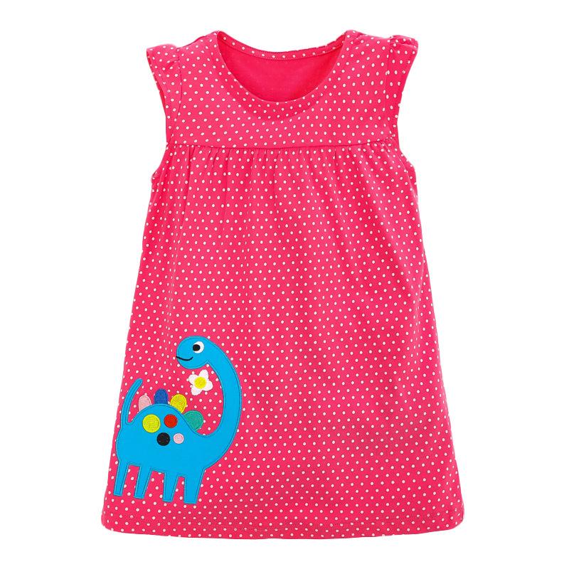 Cute Dinosaur Polka Dot Girl Red Dress