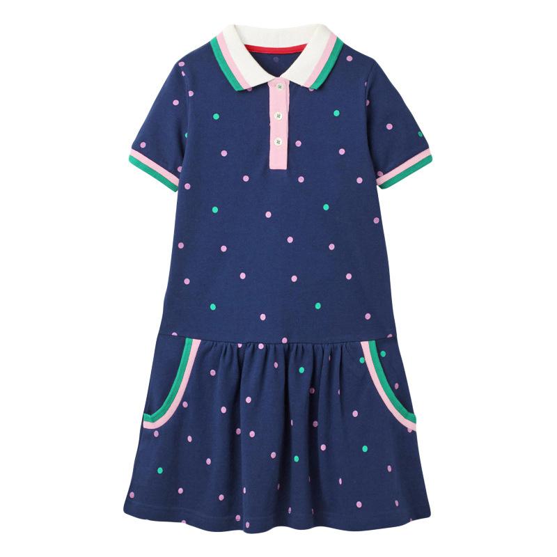 Dark Blue Polka Dot Girl Dress