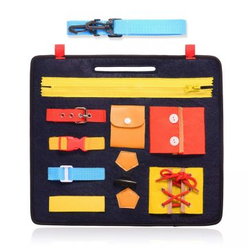 Learning life skills board are made of felt which aims to teach kids how to manger the life skills, such as , zip up , bottom , tie shoes cale