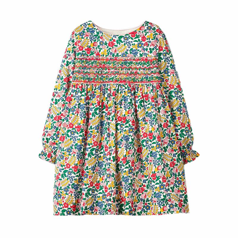 Autumn Long Sleeve Girls Dress Cotton Printed Kids Skirt