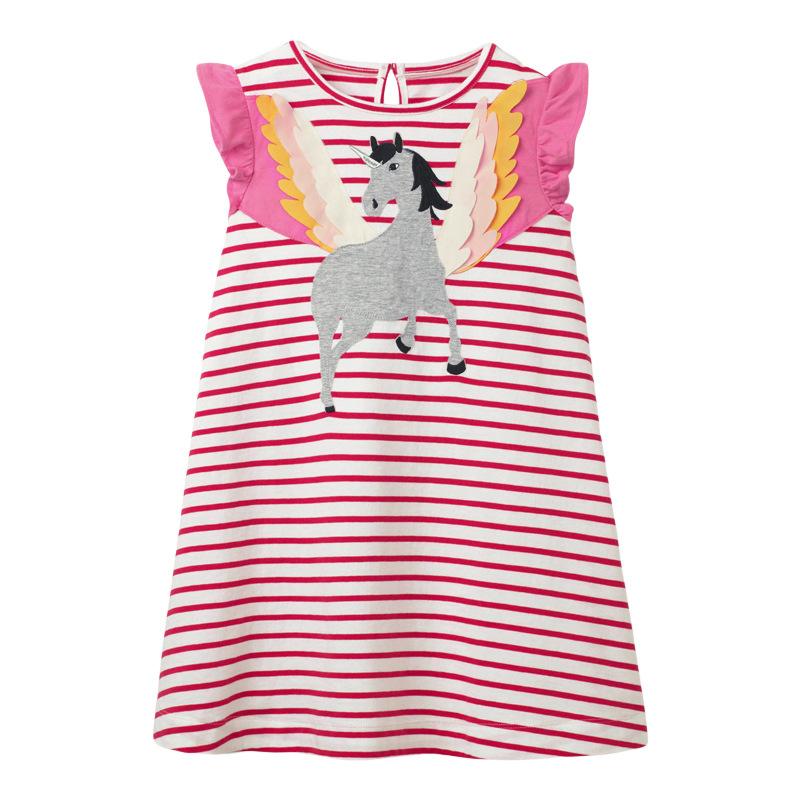 Flying Horse Girl Striped Dress