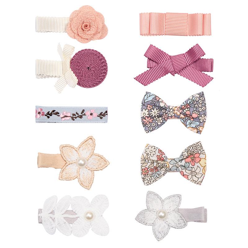 10 PCS Girl flower fancy hair clip set