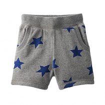 Grey boy pants with star  printed boy can wear in summer day, adjustable waistline