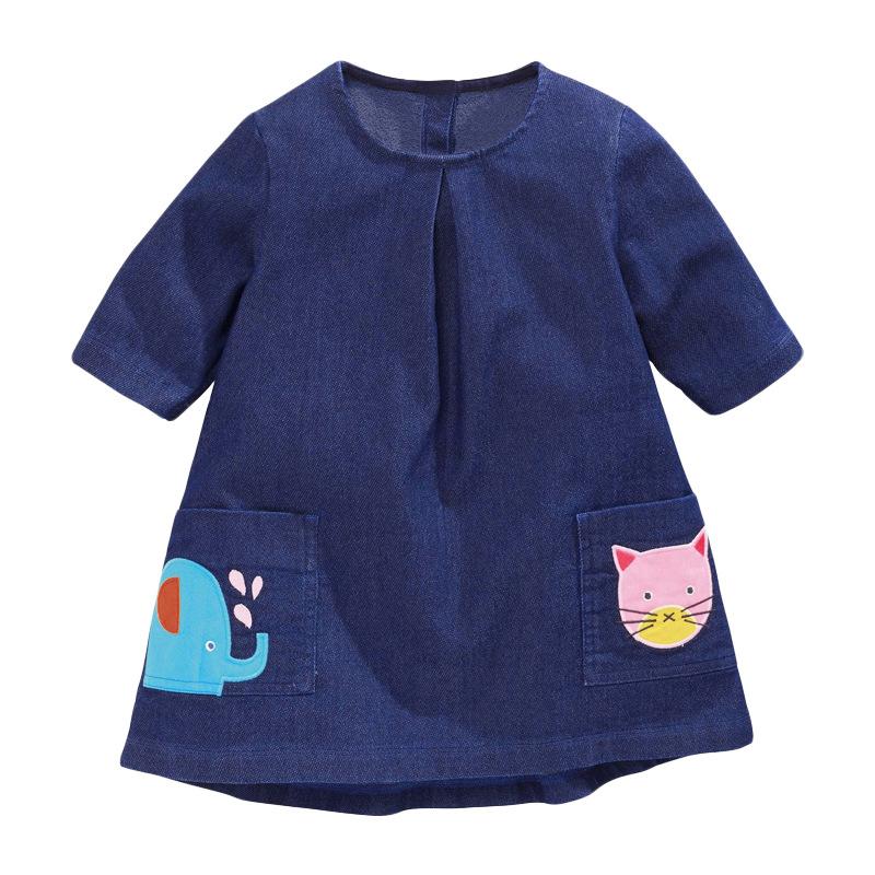 Little Elephant Girl Denim Dress
