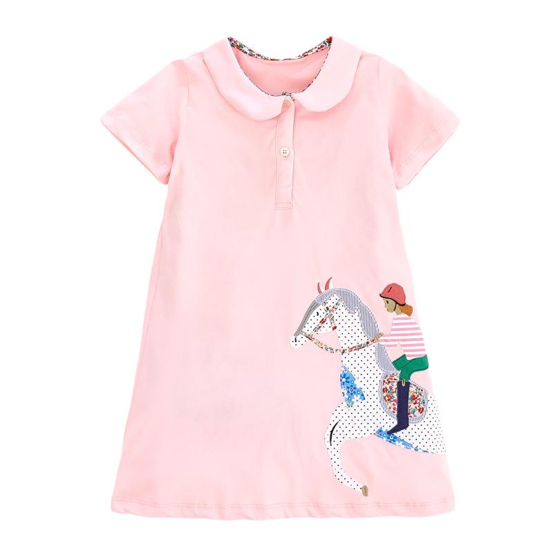 Little Girl Riding Horse Pattern Girl Pink Dress
