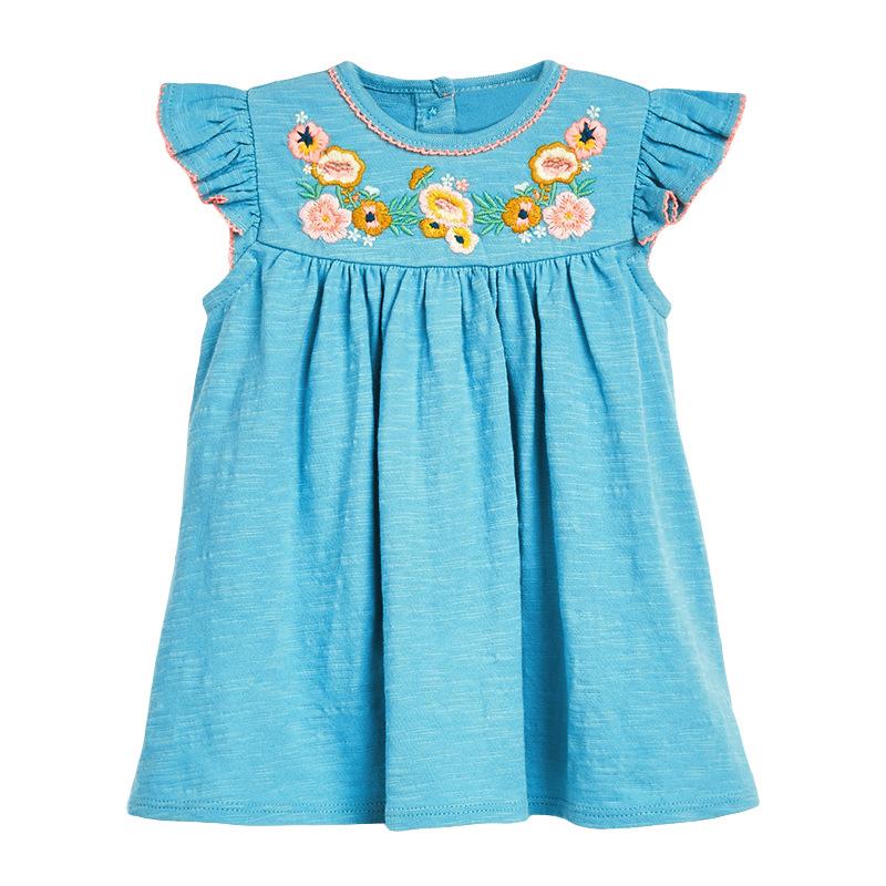 Flowers Embroidery Girl Ocean Blue Dress
