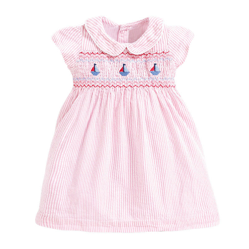 Striped Girl Pink Dress with Boats Pattern