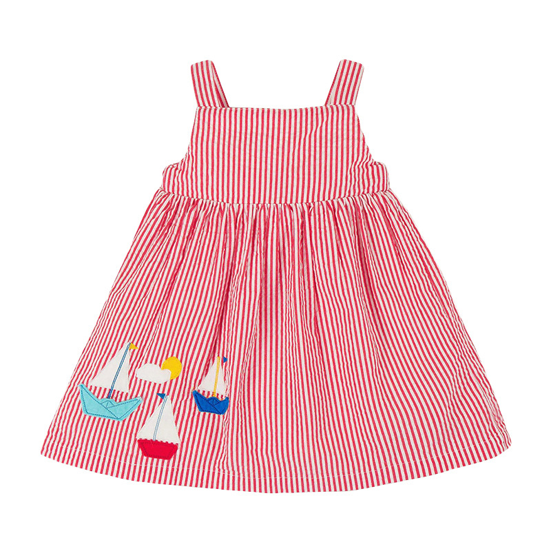 Pink Striped Girl Sling Dress With Ship Patterns