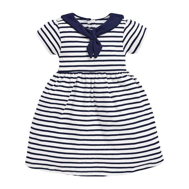 Girl Navy Dress Striped Dress
