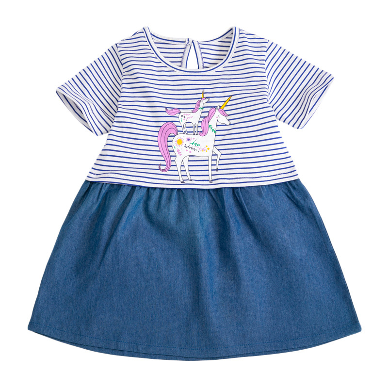Tow Little Ponies Prints-girl Striped Dress