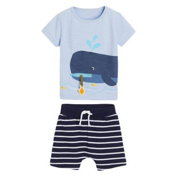 Whale prints Baby and Toddler T-Shirt and Mesh Shorts Set for baby boy wearing in summer day, include short sleeve T-shirt and shorts