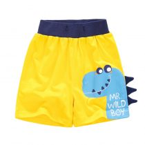 Yellow  boy pants with dinosaur printed boy can wear in summer day, adjustable waistline
