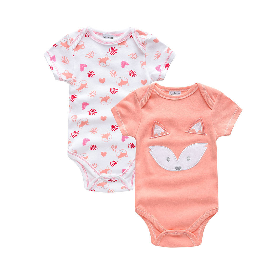 2PCS Baby Girls Short Sleeves  Pink Fox Print Bodysuit