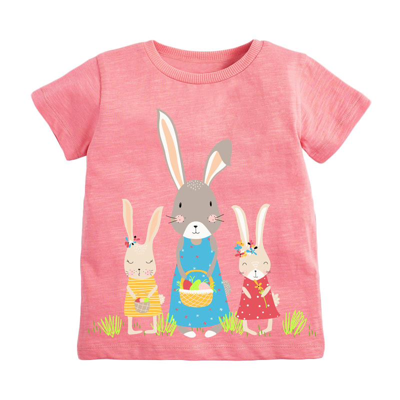 Girls Short Sleeves T-shirt Printed Rabbit and Flowers
