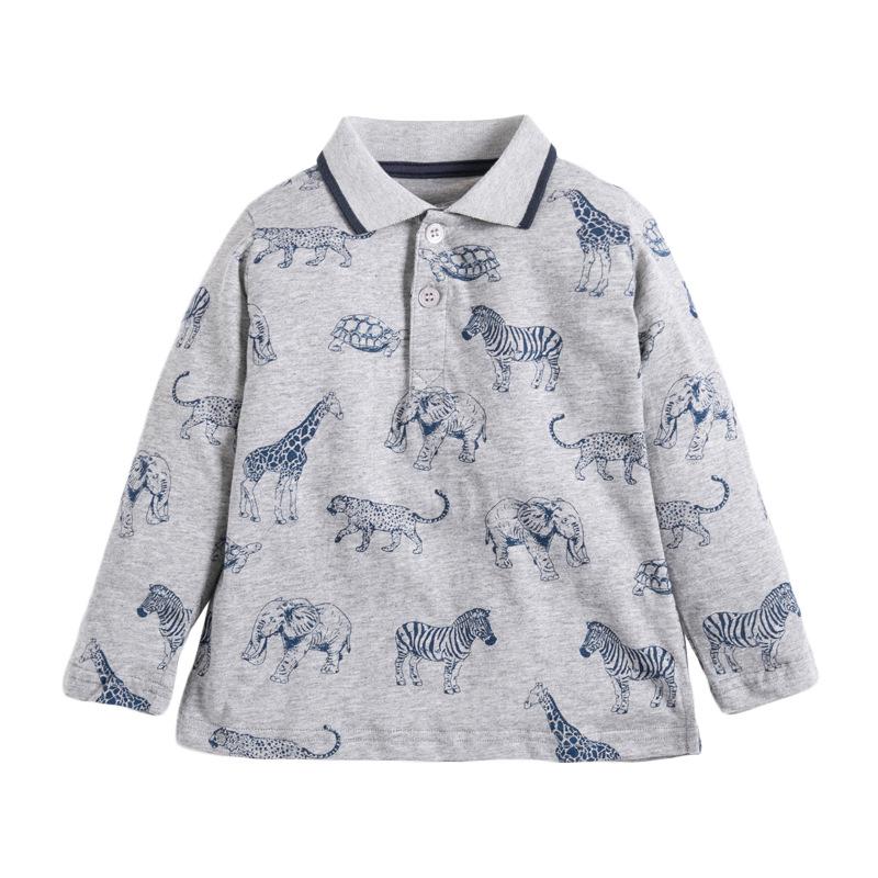 Boys T-shirt Autumn Boy Long Sleeves T-shirt Lapel Open Chest