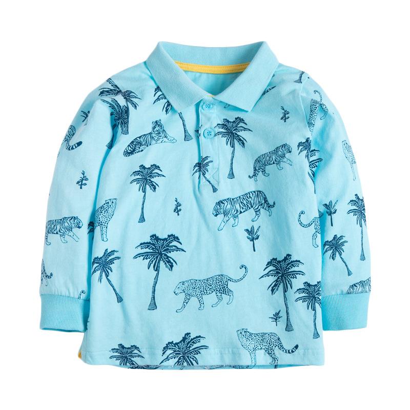 Boys Leopard T-shirt Autumn Boy Long Sleeves T-shirt Lapel Open Chest