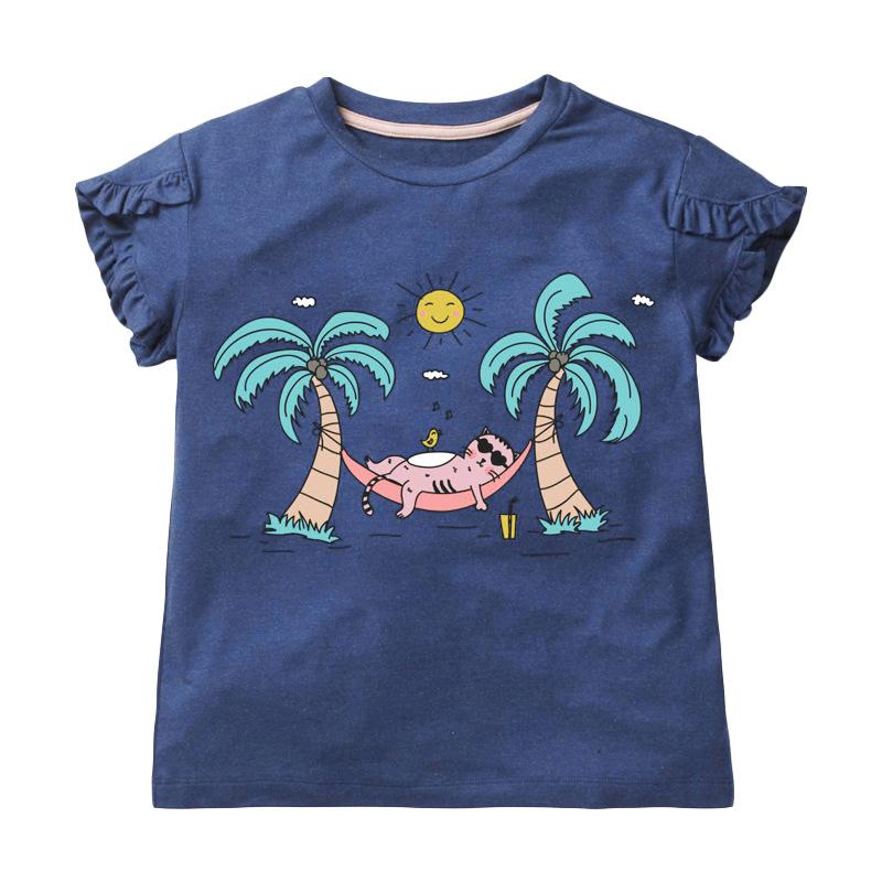 Girls Short Sleeves T-shirt Printed Coconut Tree