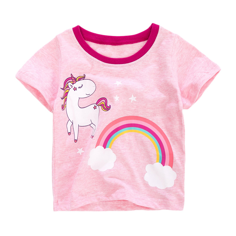 Girls Short Sleeves T-shirt Printed with Little Pony and Rainbow