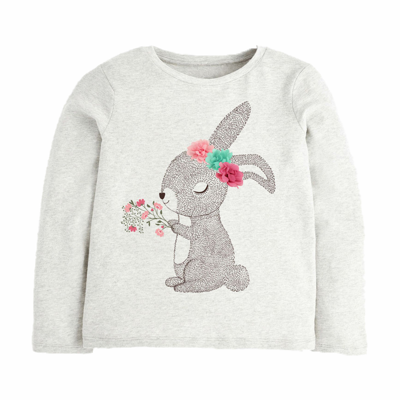 Girls Sweatshirts with Rabbit holding flowers prints1