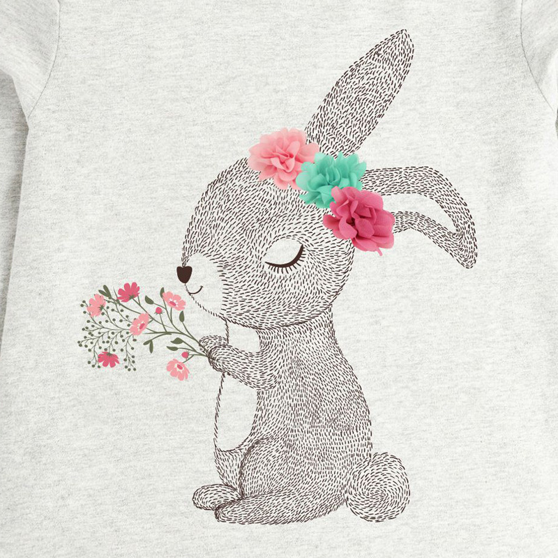 Girls Sweatshirts with Rabbit holding flowers prints3
