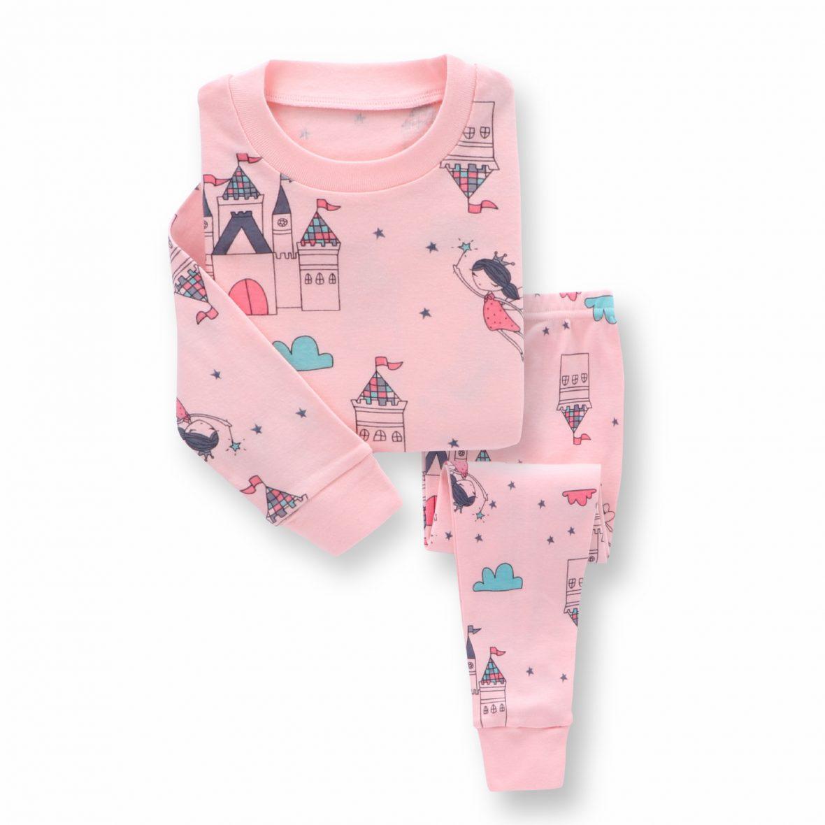 Girls Pink Long Sleeves Pajamas