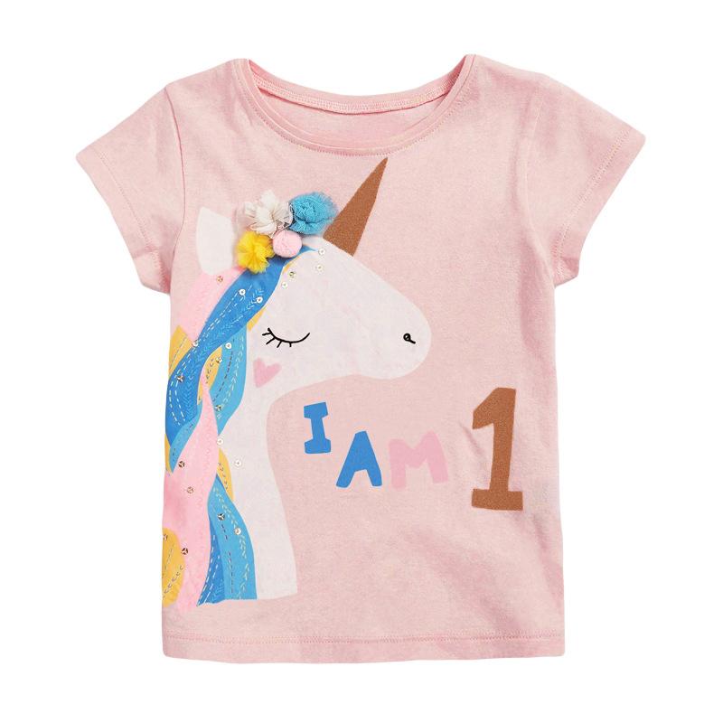 Girls Short Sleeves Pink T-shirt Printed I am 1