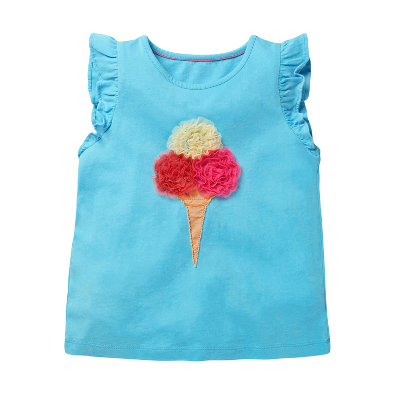 Girls Sleeveless Blue T-shirt with Ice Cream Embroidery