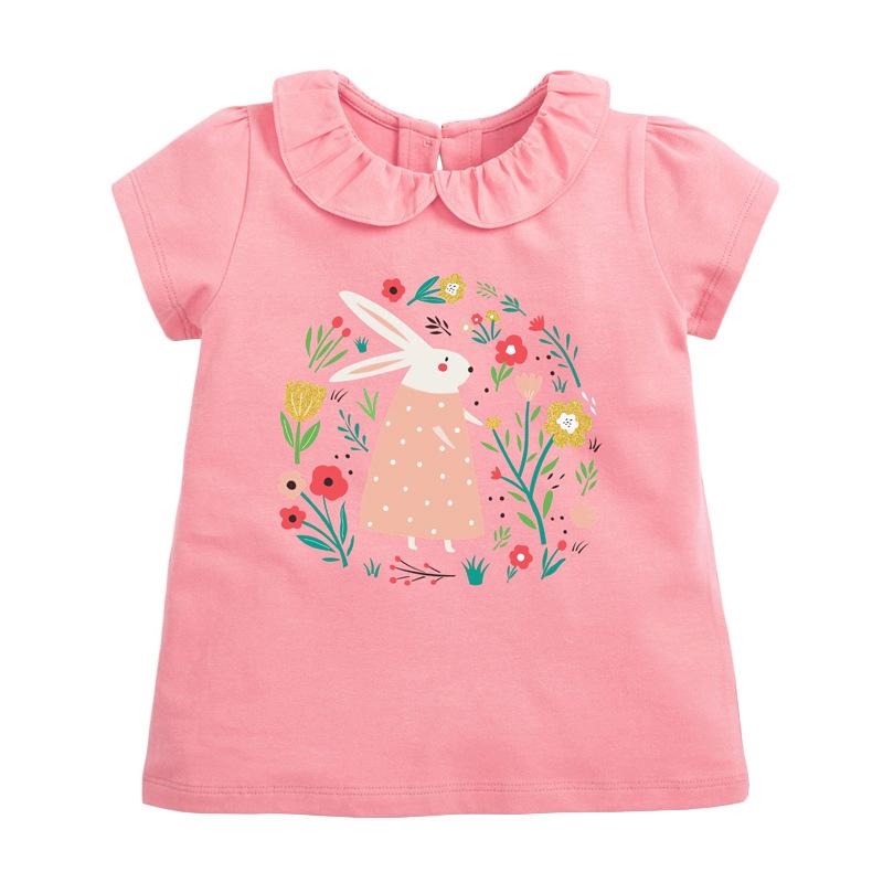 Girls Sleeveless T-shirt Printed Flowers and Rabbit