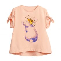Girls t-shirt wearing in Summer day, short sleeves with cartoon ,animal, flower, pattern in cotton fabric