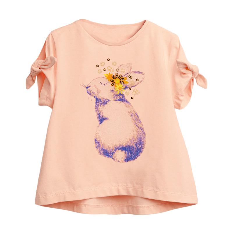 Girls Short Sleeves OrangeT-shirt Printed Rabbit