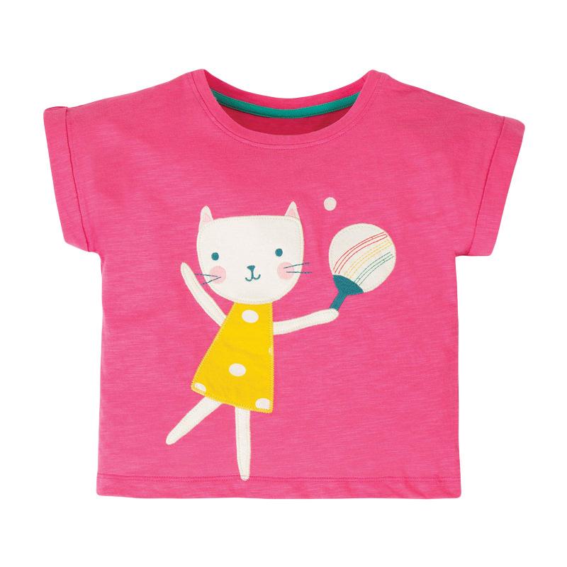 Girls Short Sleeves T-shirt Rabbit Printed T-shirt