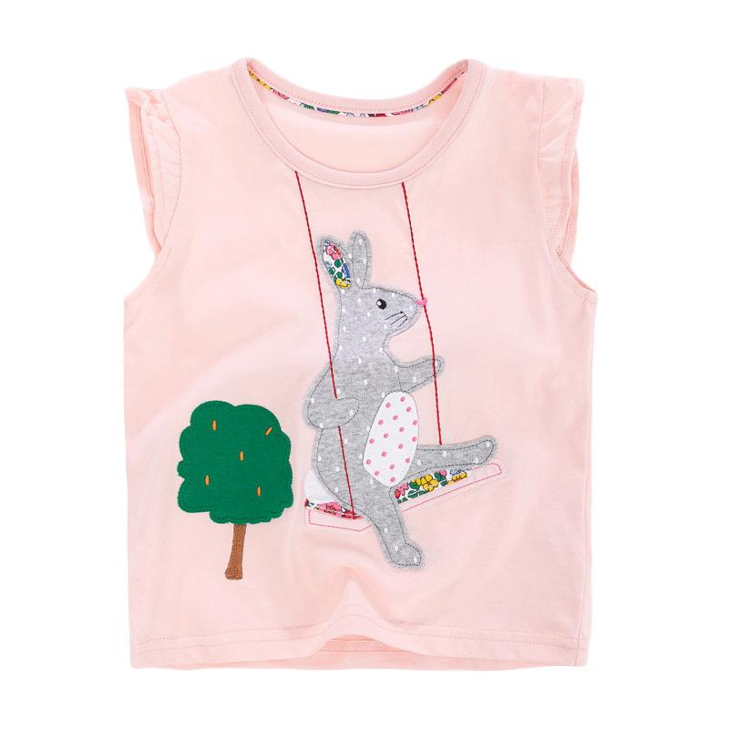Girls Sleeveless T-shirt Printed  Rabbit Swinging