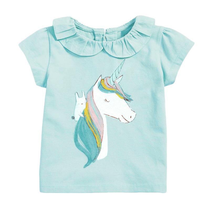 Girls Short Sleeves Green T-shirt Printed Unicorn