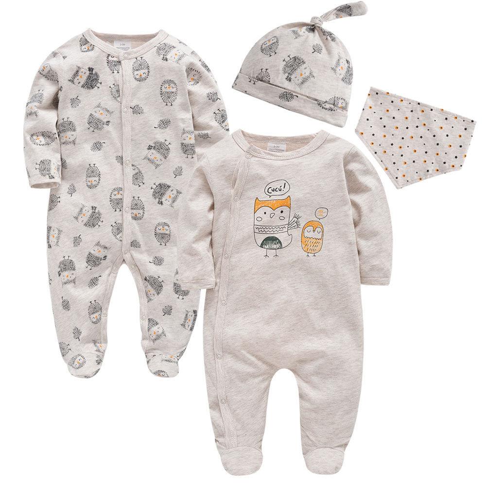 4PCS Baby Boys Bodysuit and Romper Set