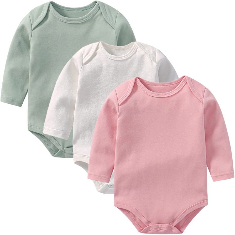 3PCS Customzied Baby Girls Long Sleeves Bodysuit Solid Color Baby Bodysuits