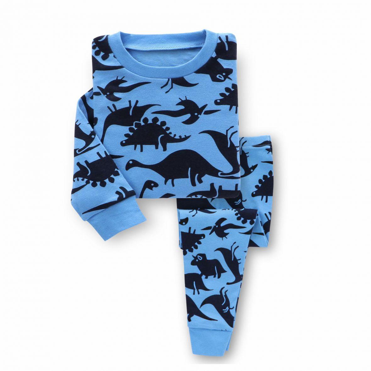 Boys Blue Pajamas with Dinosaur Pattern