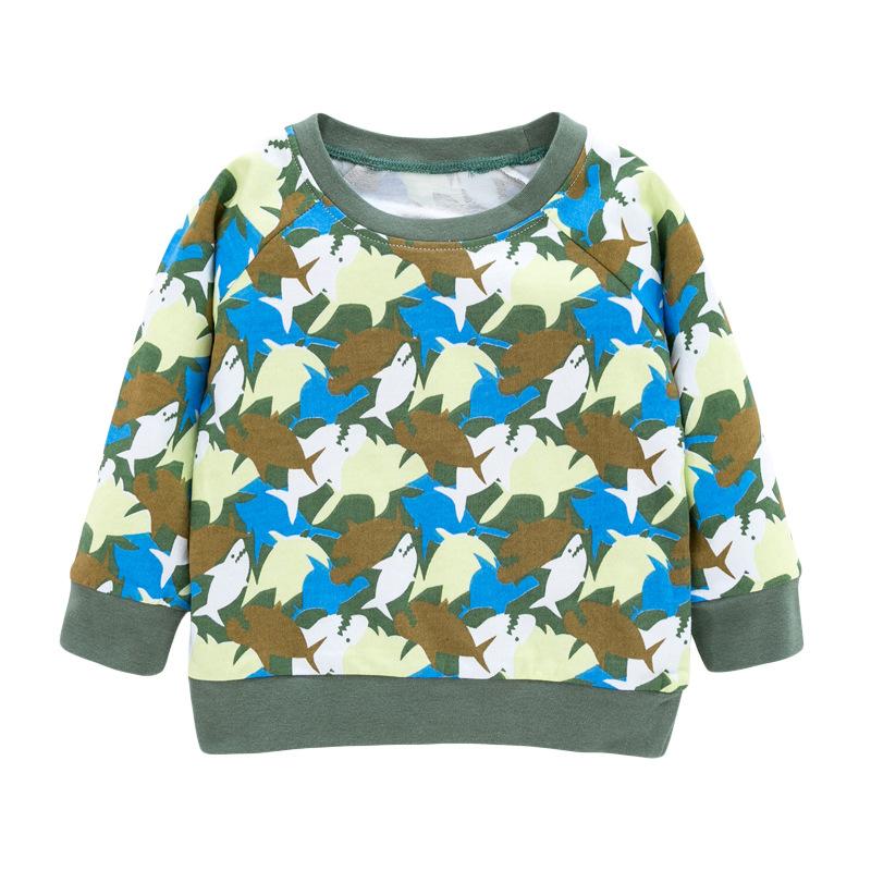 Boys Autumn Long-sleeved Sweatshirts with Shark Prints