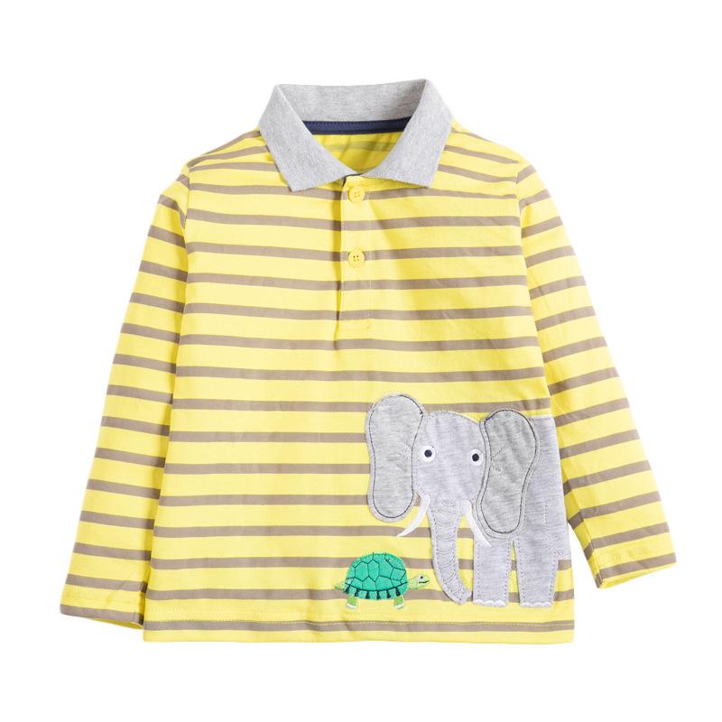 Boys Striped Elephant T-shirt Lapel Long Sleeve Children's Autumn T-shirt
