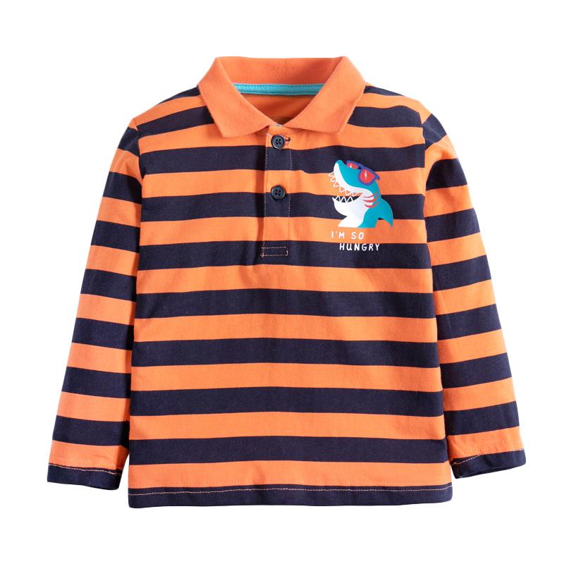Boys Striped T-shirt Lapel Long Sleeve Children's Autumn T-shirt