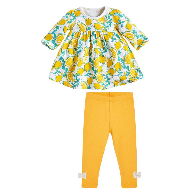 Autumn Girl Set Lemon Printed Long-sleeved Children's Suit