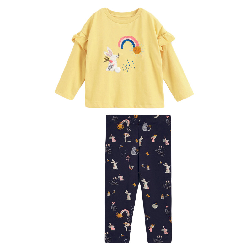 Girls Sets Rainbow Long Sleeves Kids Suits