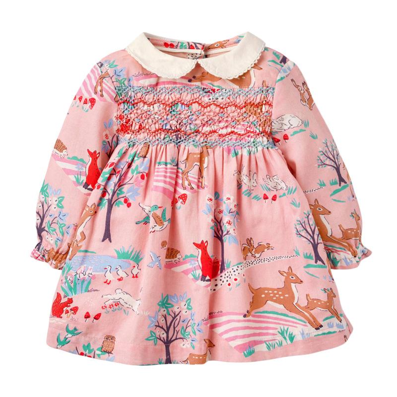 Girl Floral Wick Velvet Dress Autumn Long-sleeved Girl Dress