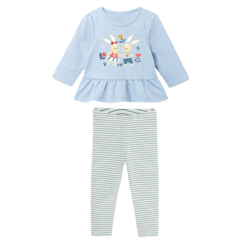 Autumn Girl Set Rabbit freinds Long-sleeved Children's Suit
