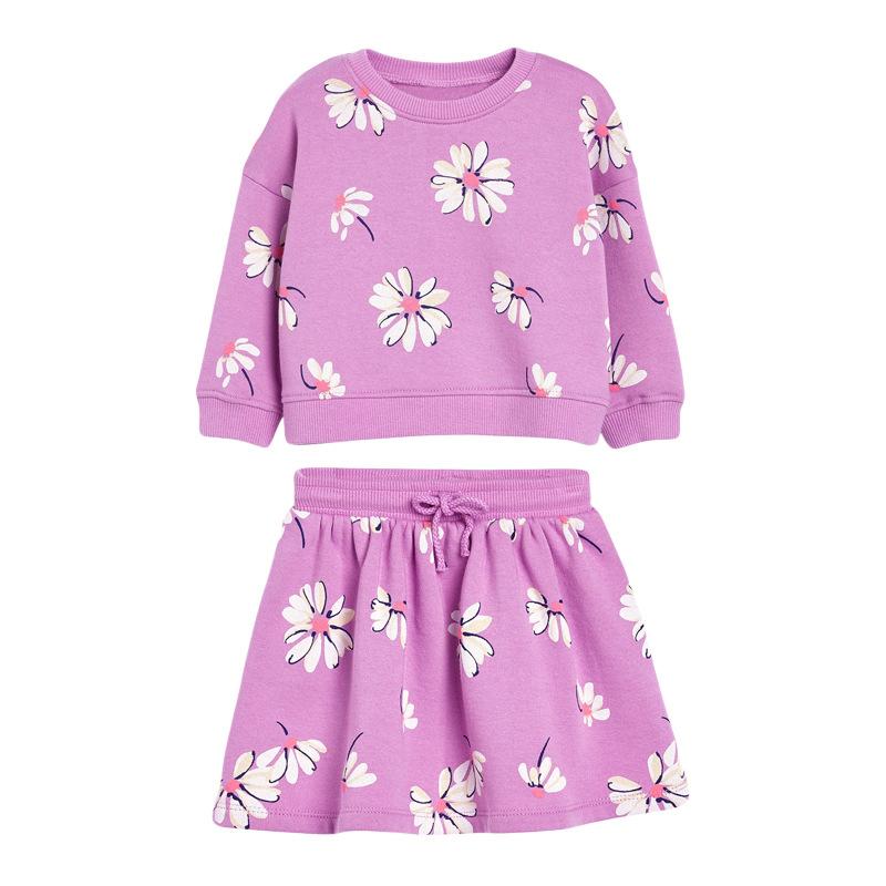 Girls Set Long-sleeved Autumn Children's Cotton Short Skirt Suit