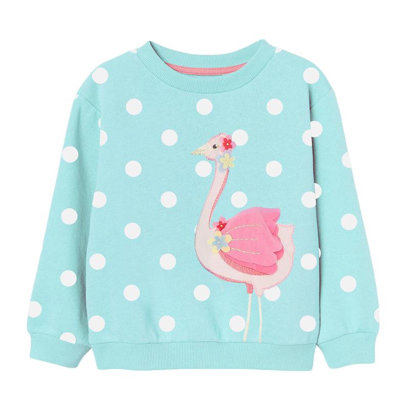 Girls Flamingo Sweater Autumn Round Neck Long Sleeve Girls Sweatshirt